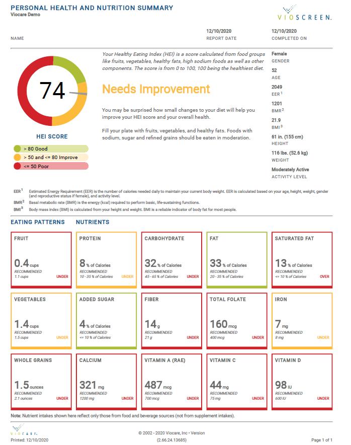 Nutrition Summary Report image